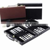 "12"" Backgammon In Leather Box / leather backgammon set"