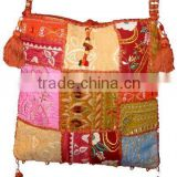 Ethnic vintage sari <b>fabric</b> gypsy boho hippie shoulder <b>handmade</b> handbag