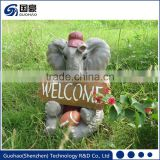 Attractive Welcome elephant Garden Sign Statue