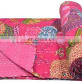 Indian Quilt Vintage Kantha Bedspread Throw Cotton TWIN QUEEN Fruit print Blanket handmade Bedspread Bedding Decor art