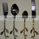 brass leaf design handle antique cutlery sets