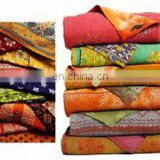 Indian kantha quilt quilts blanket throw Bangali Gudari reversible cotton Quilted Bedspread Vintage Decor Handmade old vintage