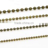 Different Size Bronze Plated Round Beaded Link Iron Chain For Jewelry Diy