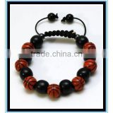 2015 fashion beaded basketball woven bracelet wholesale price