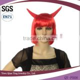 High quality short red synthetic carnival halloween wig with ox horn