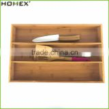 Bamboo Drawer Organizer with 3 Compartment for Cutlery and Flatware/Homex_FSC/BSCI Factory