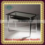Hot sell modern black Glass dining table top tempered and metal leg for dining room