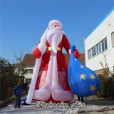 10m Height Christmas Inflatable Santa Claus with Gift Bag for Outdoor Decoration