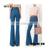 Blue cotton high-waisted wholesale women flared jeans