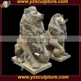 Garden decoration life size antique stone lion statue