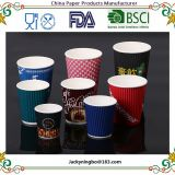 Quality Disposable Hot Coffee Insulated Paper Cups Stylish Contemporary Ripple Design