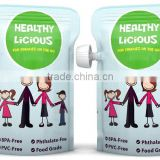 china made plastic foil laminated resealable stand up pouch with corner spout for baby food
