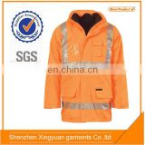 Mens Hi vis Fluorescent Orange Reflective safety waterproof working jacket