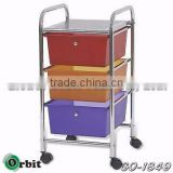 Colorful storage drawer cart with wheels, 3 tier storage plastic box trolley