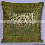 "16"" Indian Mandala Decorative Silk Brocade Cushion Cover Ethnic Sofa Decor Throw Pillow Cover Pillow Case Throw wholesale"