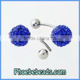 Wholesale Fashion Bling Bling Royal Blue Navel Rings Body Piercing Jewelry Belly Button Barbell Pave Crystal Rhinestone BBR-A003