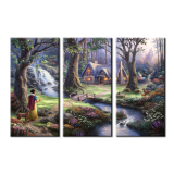 Wall pictures for living room 3 Piece Canvas Prints Thomas Kinkade the Snow White and Seven Dwarfs Oil Paintings Framed