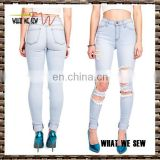 womens light blue acid wash jeans with holes/ fashiion womens jeans 2017
