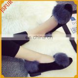 Fashion Shoes For Girl Colourful Fox Fur Low Heeled Shoes