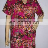 FLOWER PRINT COTTON PLATED TUNIC / TOP / INDIAN KURTI