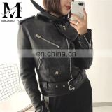 Handsome Motorcycle Spring Jacket Short Leather Zipper Jackets Leather for Women