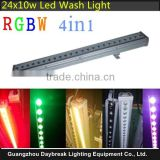 24x10w RGBW 4in1 LED wall light dmx512 full color mix led wall wash strip long type waterproof IP65 Stage / Outdoor Building led