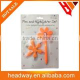 flower shape pen and colorful highlighter set with blister card packing