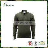 Army Green 100% Cotton Sweater with Button Closure