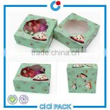 China supplier wholesale lovely transparent PP window paper box packaging of bake egg tart food box                                                                                                         Supplier's Choice