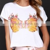 2015 new design print ladies short sleeve cut cropped tops, woman tee