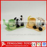 Plush animal tubular penrack brush holder