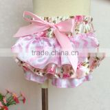 Baby Girls Cotton Panty Diaper Covers - Ruffled Pink Flowers