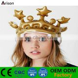 PVC inflatable golden crown foldable inflatable party head decoration crown inflatable hat