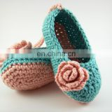 Crochet Cotton Baby Girl Blue Rose Shoes ,0-1 year Old Crochet Booties Baby Slippers Whosale