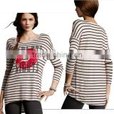 wholesale fashion design ladies strip shirt womens loose shirt