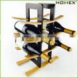 Curved bamboo designed wine stand wine rack Homex BSCI/Factory
