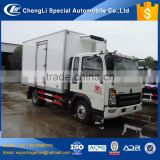 Cheapest Chinese hot selling light duty 5 ton howo FRP reefer van