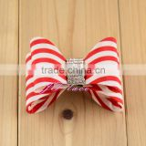 Red/white satin bow- single hair bow use for hair accessories, shoes, bags, dresses, clothes