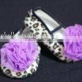 Leopard Print Shoes with Dark Purple Rosettes Pettishoes Crib Shoes MAS18