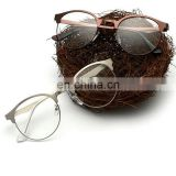 New Arrival Retro Metal Frame Women Men Plain Mirror Eye Glasses