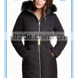 Fitted faux <b>fur</b> hood padded jacket