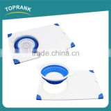 Cheap wholesale kitchen foldaway flexible plastic cutting board with foldable bowl