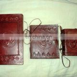 LEATHER COVERED PAPER NOTEBOOKS SET OF 3 PCS SET