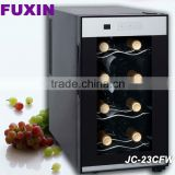 FUXIN:JC-23CFW .Bar top fridge with 8Bottles/ Mini wine chiller with Full Glass Door./wine refrigerator.