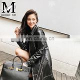 Fashion Classical Lady Windbreaker 100% Leather Jacket Semiformal Wear Ladies Long Leather Jacket