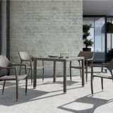 Outdoor Furniture Table And Loose Chair PE Rattan Wicker Powder Coating Aluminum Frame Teak Waterproof Fabric UV Proof