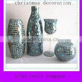Christmas Decor Malachite Green Mosaic Tall Vase Handmade Elegant Flower Arrangements