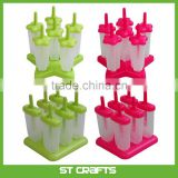 100% BPA FREE & Dishwasher Safe 6-piece Repeat Use Green Plastic Ice Pop Mold Set