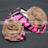Hot Pink Zebra Print Shoes with Coffee Brown Rosettes Pettishoes Crib Shoes MAS29