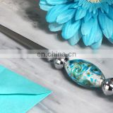 Murano Glass Letter Openers - Art Silver and Teal